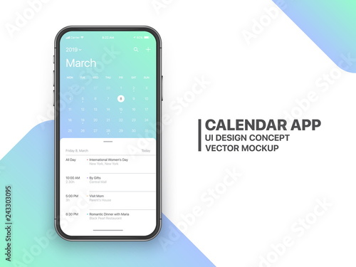 Calendar App Concept March 2019 Page with To Do List and