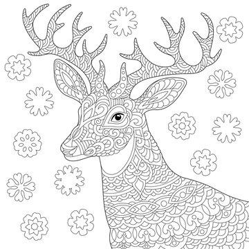 zentangle deer reindeer coloring page