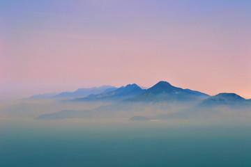 Tranquil view of stunning mountains in Da Nang, Vietnam by dawn. Fotomurales