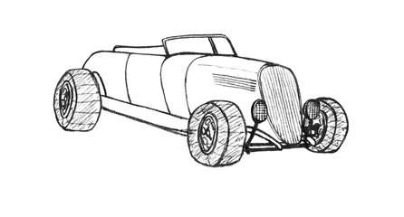 Black and white sketch of a car. Isolated illustration.