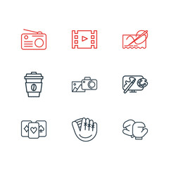Vector illustration of 9 hobby icons line style. Editable set of coffee, playing cards, baseball glove and other icon elements.