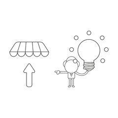 Vector illustration of businessman character holding glowing light bulb and pointing arrow up under store awning. Black outline.