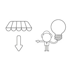 Vector illustration of businessman character holding light bulb and pointing arrow down under store awning. Black outline.