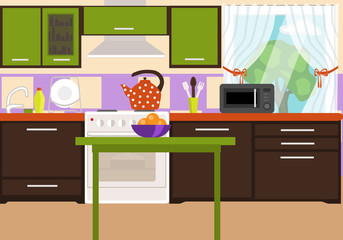 Kitchen interier. Bright interior in the style of flat. Kitchen furniture, appliances and items.
