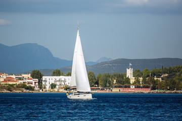 Wall Mural - Sailing luxury yacht in Aegean Sea at Greece.