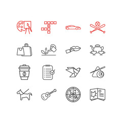 Vector illustration of 16 lifestyle icons line style. Editable set of planning, baseball, pet and other icon elements.
