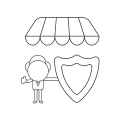 Vector illustration of businessman character holding guard shield under store awning and showing thumbs-up. Black outline.