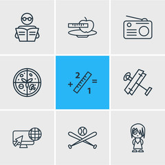 Vector illustration of 9 lifestyle icons line style. Editable set of radio, reading, internet surfing and other icon elements.