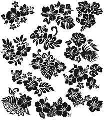 Hibiscus with leaves vector silhouette collection of 12 different style