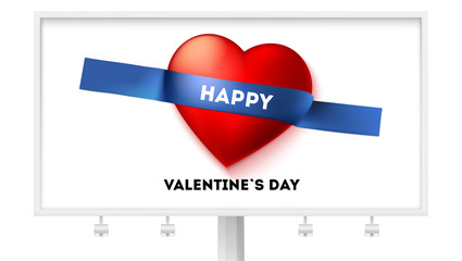 Happy Valentines day. Billboard with holiday greetings on sticky tape. Red heart taped to white background. Vector 3d illustration. Festive composition. Template for joyful events, flyer, invitation