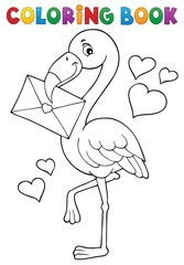 Coloring book flamingo with love letter