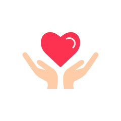 Heart in hand icon vector.