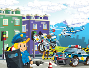 cartoon scene with police car motor helicopter flying and policeman on patrol - illustration for children