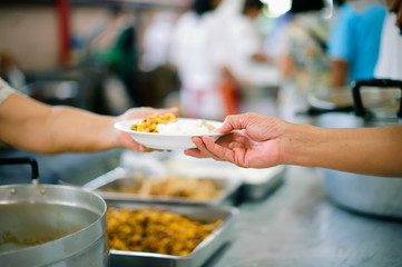 Free food, Using leftovers to feed the hungry : concept charity food