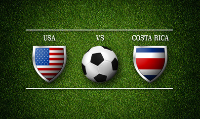 Football Match schedule, USA vs Costa Rica, flags of countries and soccer ball - 3D rendering