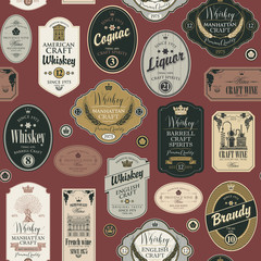 Vector seamless pattern with collage of labels for various alcoholic beverages on a burgundy background in retro style with inscriptions of whiskey, liquor, cognac, wine, brandy.