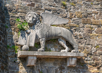 Lion of Saint Mark on the wall of historic Castle in Gorizia, Italy