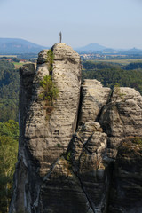 Saxon Switzerland, Elbe Sandstone Mountains, rock formation, Germany, view to city Wehlen