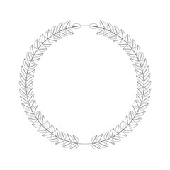 Line art style wreath. Leafs in cirlce or round shape. Vector illustration.