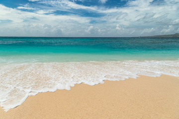 Beautiful Puka beach and blue sky at Boracay Island, Philippines.