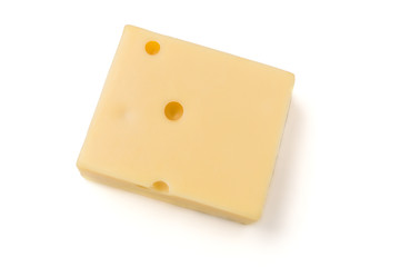 Square gouda cheese slice isolated on a white background.