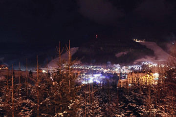 Night landscape with mountain village near forest in winter