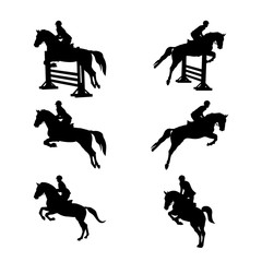 set group equestrian sport women and men rider in horse