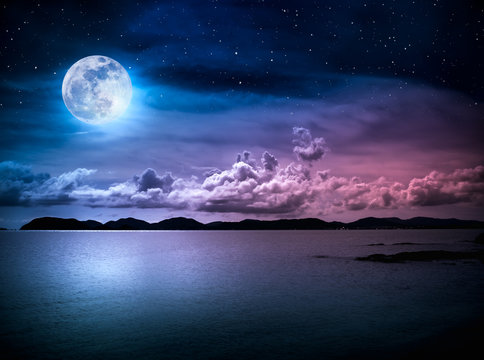 Landscape of sky with full moon on seascape to night. Serenity nature.
