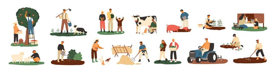 Set of farmers or agricultural workers planting crops, gathering harvest, collecting apples, feeding farm animals, carrying fruits, milking cow, working on tractor. Flat cartoon vector illustration. Wall mural
