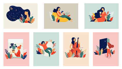 Feminine concept illustration, beautiful women in different situations. international women's day. Flat style vector design set stock vectors
