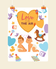 Kids vector children girl boy characters in first love backdrop cartoon loving baby illustration childhood friendship child playing kissing background card on valentines day