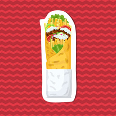 Delicious gyros sticker on red striped background. Graphic design elements for menu, advertising, poster, brochure or background. Vector illustration of fast food.