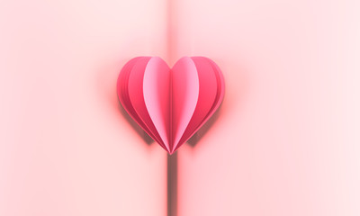 Valentine's day greeting card with beautiful pure pink heart. Lovely Happy Valentine's day minimal concept.