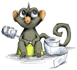 Affenbaby sitzt auf Toiletten Töpfchen mit Klopapier