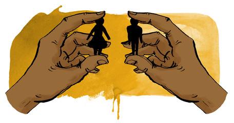 Mann und Frau zusammen gebracht von Händen