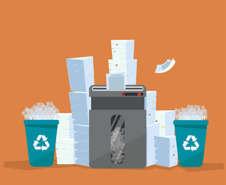 A pile of paper and documents stands above big floor shredder. . Many paperwork concept. Huge stacks of used paper and plastic recycle bins full of scraps of paper. Flat cartoon vector illustration.