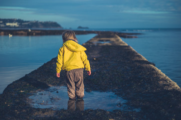 Little toddler standing in rock pool in winter