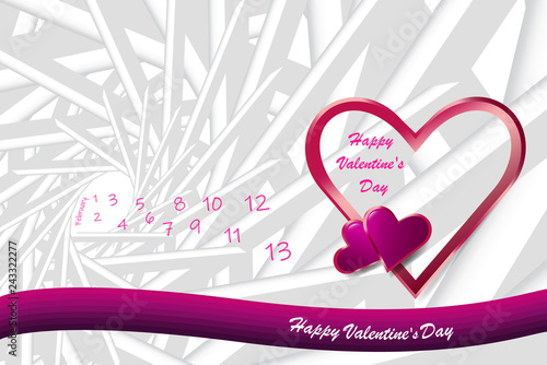 Trendy Vector Of Love Theme Showing Pink Frame Heart In The Right