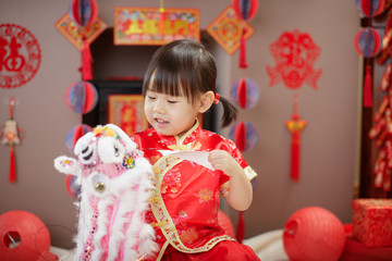 Chinese baby girl  traditional dressing up celebrate Chinese new year