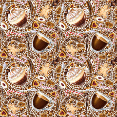 Seamless pattern with different coffee drinks and sweets on white background. Illustration of viennese coffee, armericano, cookies and candy. Hand-drawn by markers, watercolor.