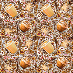Seamless pattern with different coffee drinks and sweets on white background. Illustration of  flat white, mocha coffee, cookies and candy. Hand-drawn by markers, watercolor.