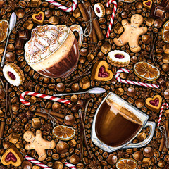 Seamless pattern with different coffee drinks and sweets on dark background. Illustration of viennese coffee, armericano, cookies and candy. Hand-drawn by markers, watercolor.
