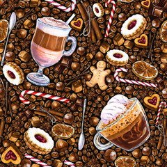 Seamless pattern with different coffee drinks and sweets on dark background. Illustration of latte, coffee glace with ice cream, cookies and candy. Hand-drawn by markers, watercolor.