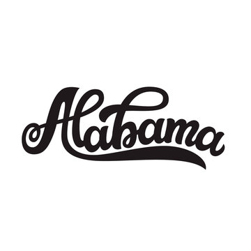 Alabama. Hand drawn lettering text