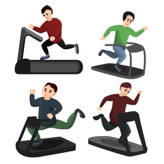 Treadmill icons set. Cartoon set of treadmill vector icons for web design