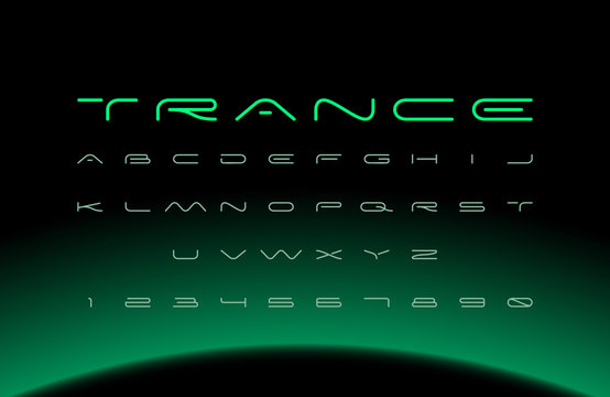 Modern font. Futuristic vector alphabet. Wide letters.
