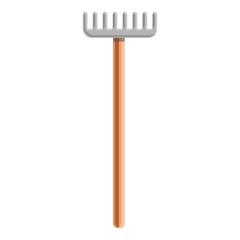 Farm rake icon. Cartoon of farm rake vector icon for web design isolated on white background