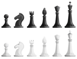 Chess icons set. Cartoon set of chess vector icons for web design