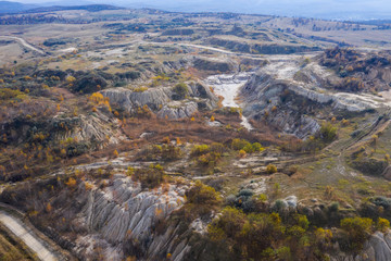 Industrial mining landscape from a drone, aerials