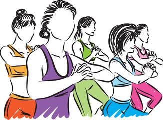 fitness group vector 2 illustration